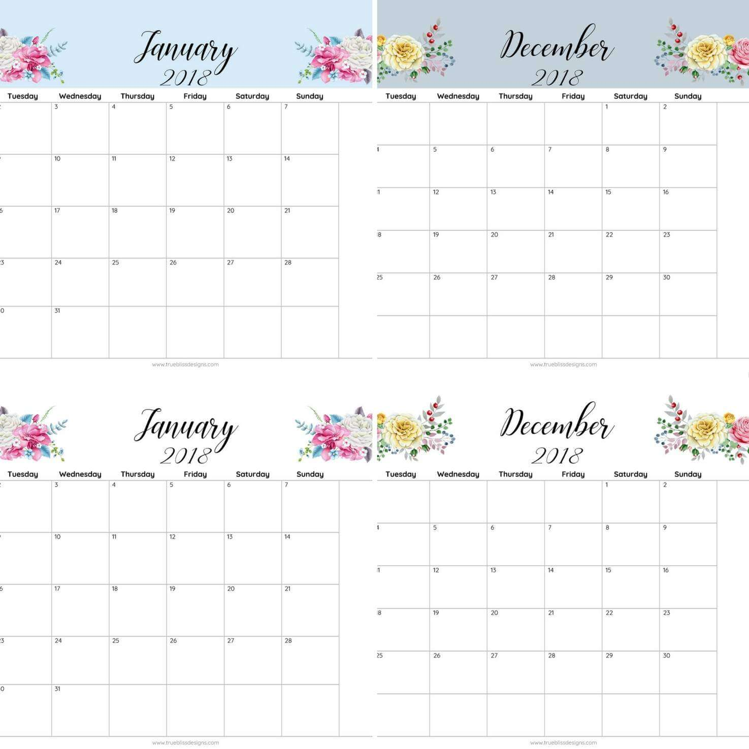 Calendar Monthly 2018 Printable : Floral printable monthly calendar true bliss designs
