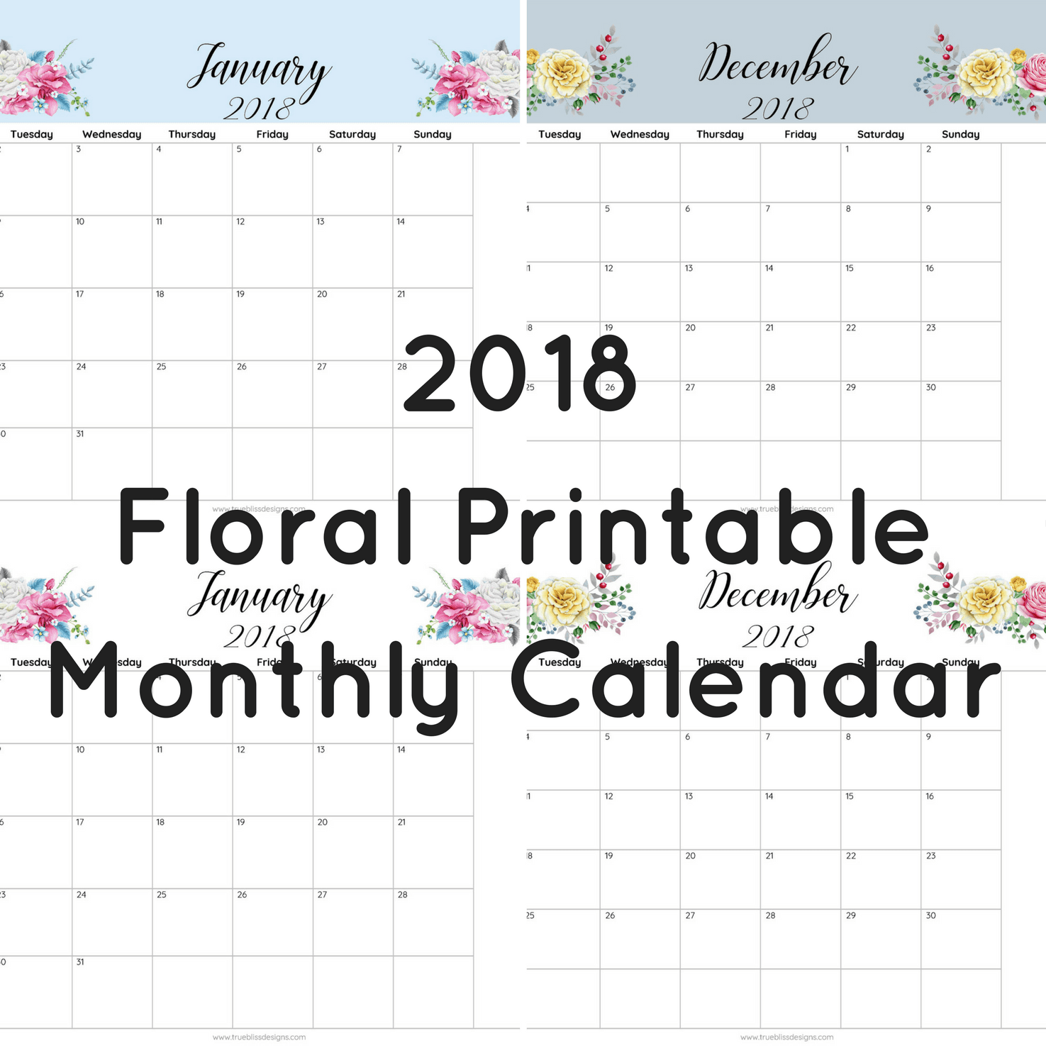 2018 Floral Printable Monthly Calendar True Bliss Designs – Printable Monthly Calendar
