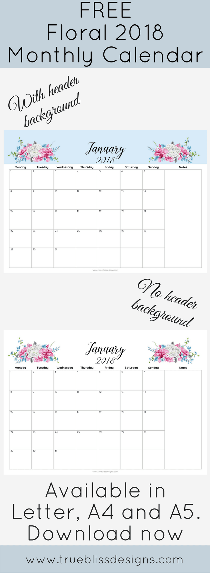 Calendar Header Design : Floral monthly calendar with and without header