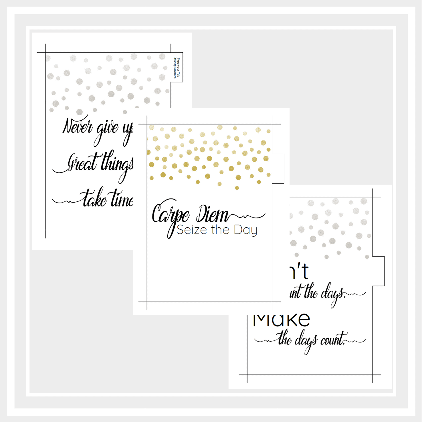 A5 Printable Planner Dividers with Inspirational Quotes ...