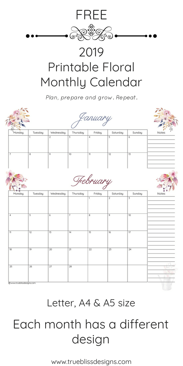 2019 Floral Printable Monthly Calendar Jan Feb Pin True Bliss